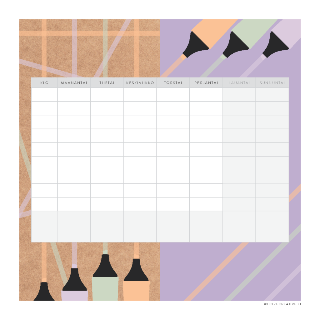 Kuva lukujärjestyksestä, jossa on mukana kaikki viikonpäivät ja tilaa harrastuksille.